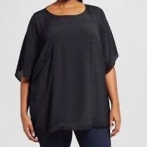 Ava & Viv Kimono sleeve black fringe top side 2x